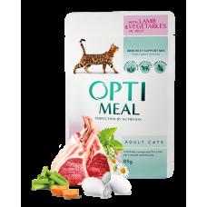 Optimeal для кошек ягненок и овощи в желе 0,085 кг