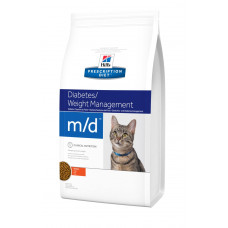 Hill's (Хиллс) Prescription Diet Feline m/d диета для кошек, страдающих от сахарного диабета и ожирения 1.5кг; 5кг