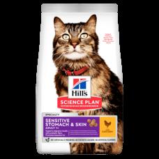 Hill's (Хиллс) Science Plan Feline Adult Sensitive Stomach & Skin корм для взрослых кошек с чувствительным пищеварением и кожей с курицей 0.3кг;1,5кг;7кг