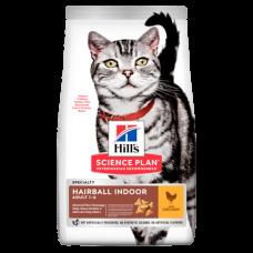 Hill's (Хиллс) Science Plan Feline Adult Hairball Indoor Chicken корм домашним кошкам и котам для снижения образования комков шерсти 0.3кг;1.5кг;3кг