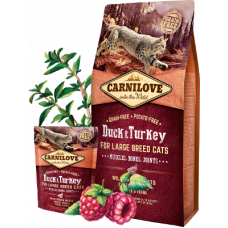 Carnilove (Карнилав) Adult Cat Duck & Turkey Large Breed беззерновой корм с уткой и индейкой для котов и кошек крупных пород 0,4кг; 2кг; 6кг