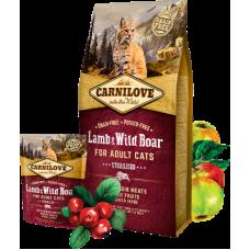 Carnilove (Карнилав) Adult Cat Sterilised Lamb & Wild Boar беззерновой корм с ягненком и диким кабаном для кастрированных котов и стерилизованных кошек 0,4кг; 2кг; 6кг