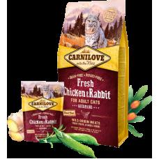 Carnilove (Карнилав) Adult Cat Fresh Chicken & Rabbit Gourmand беззерновой корм с курицей и кроликом для котов и кошек 0,4кг; 2кг; 6кг