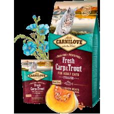 Carnilove (Карнилав) Adult Cat Sterilised Fresh Carp & Trout беззерновой корм с карпом и форелью для кастрированных котов и стерилизованных кошек 0,4кг; 2кг; 6кг