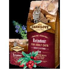 Carnilove (Карнилав) Adult Cat Reindeer Energy & Outdoors беззерновой корм с олениной для активных котов и кошек 0,4кг; 2кг; 6кг