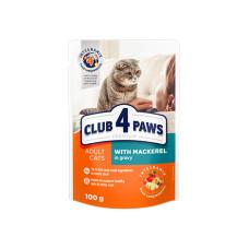 Клуб 4 Лапы. Влажный корм для кошек макрель в соусе 100г