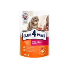 Клуб 4 Лапы. Влажный корм для кошек с сочной телятиной в соусе 100г