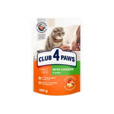 Клуб 4 Лапы. Влажный корм для кошек с курицей в деликатном соусе 100г