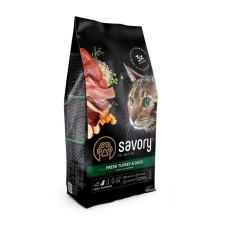 Savory (Сейвори) Cat Fresh Turkey & Duck сухой корм со свежей индейкой и уткой для взрослых капризных котов 0,4кг; 2кг; 8кг