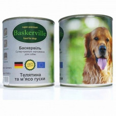 Консерва Баскервиль для собак. Телятина и гусь 0,4кг, 0,8кг