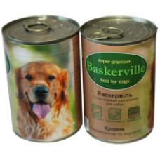 Консерва Баскервиль для собак. Кролик с вермишелью и морковь 0,4кг, 0,8кг